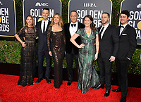 LOS ANGELES, USA. January 06, 2020: Samantha Bryant, Colin Hanks, Rita Wilson, Tom Hanks, Elizabeth Ann Hanks, Chet Hanks & Truman Hanks arriving at the 2020 Golden Globe Awards at the Beverly Hilton Hotel.<br /> Picture: Paul Smith/Featureflash