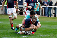 TRY - Alex Toolis of London Scottish scores during the Championship Cup match between London Scottish Football Club and Nottingham Rugby at Richmond Athletic Ground, Richmond, United Kingdom on 28 September 2019. Photo by Carlton Myrie / PRiME Media Images