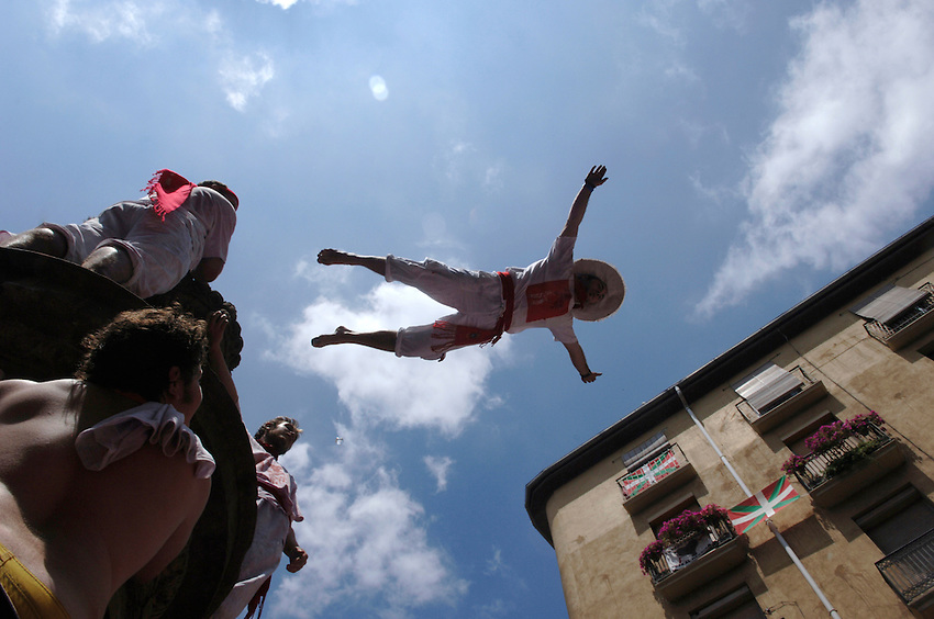 San Fermin fiesta in Pamplona..SAN FERMIN BULL RUN IRUÑA BASQUE COUNTRY ANDER GILLENEA