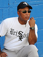 July 22, 2009: Jerry Hairston (17), batting coach of the Bristol White Sox, rookie Appalachian League affiliate of the Chicago White Sox, watches batting practice at Burlington Athletic Stadium in Burlington, N.C. Photo by:  Tom Priddy/Four Seam Images