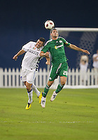 03 August 2010 Panathinaikos FC forward Antonios Petropoulos No. 28 and Inter Milan defender Lucio No.6 in action during an international friendly  between Inter Milan FC and Panathinaikos FC at the Rogers Centre in Toronto..Final score was 3-2 for  Panathinaikos FC.