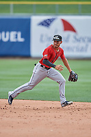 Javy Guerra (5) of the El Paso Chihuahuas during the game against the Salt Lake Bees at Smith's Ballpark on July 8, 2018 in Salt Lake City, Utah. El Paso defeated Salt Lake 15-6. (Stephen Smith/Four Seam Images)