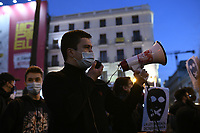 MADRID, SPAIN - FEBRUARY 17:  People Attend a demonstration against the imprisonment of Spanish rapper Pablo Hasel on February 17 in Madrid, Spain.  (Photo by Joan Amengual / VIEWpress