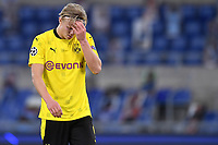 Erling Braut Haaland of Borussia Dortmund reacts during the Champions League Group Stage F day 1 football match between SS Lazio and Borussia Dortmund at Olimpic stadium in Rome (Italy), October, 200 Italy, 2020. Photo Andrea Staccioli / Insidefoto