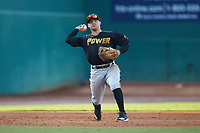 West Virginia Power third baseman Jesse Medrano (10) makes a throw to first base against the Greensboro Grasshoppers at First National Bank Field on August 9, 2018 in Greensboro, North Carolina. The Power defeated the Grasshoppers 5-3 in game one of a double-header. (Brian Westerholt/Four Seam Images)
