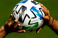 LOS ANGELES, CA - OCTOBER 25: ADIDAS, NATIVO XXV, MLS, Don Garber ball of the Los Angeles Galaxy with a throw in during a game between Los Angeles Galaxy and Los Angeles FC at Banc of California Stadium on October 25, 2020 in Los Angeles, California.
