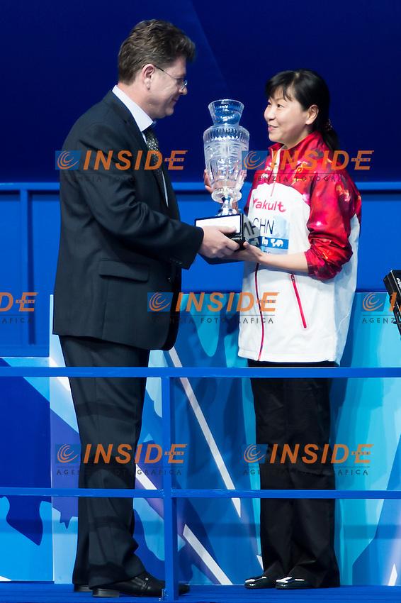 FINA Trophy to Team CHINA<br /> Diving - Men's 10m Platform final<br /> Day 10 02/08/2015<br /> XVI FINA World Championships Aquatics Swimming<br /> Kazan Tatarstan RUS July 24 - Aug. 9 2015 <br /> Photo Giorgio Perottino/Deepbluemedia/Insidefoto