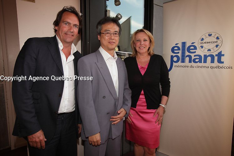 Montreal (QC) CANADA - August 2, 2012 - Presentation of Yves Simoneau  ''dans le ventre du dragon ''  HD REstaured version, made possible by the Elephant project. IN PHOTO :<br />  Pierre-Karl Peladeau ,<br /> Tatsuo Arai, Consul General of Japan ,<br /> Christine Saint-Pierre