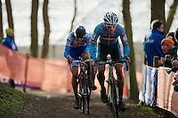 Sven Nys (BEL) followed closely by Zdenek Stybar (CZE)<br /> <br /> 2014 UCI cyclo-cross World Championships, EliteMen