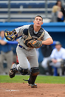Hornell Dodgers catcher Gavin Stuplenski #25 (UNC Wilmington) during a NYCBL game against the Niagara Power on June 10, 2013 at Dwyer Stadium in Batavia, New York.  Niagara defeated Hornell 16-1.  (Mike Janes/Four Seam Images)