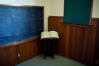 A dictionary stands in an old schoolhouse on display at the Glacier County Historical Museum outside Cut Bank, Montana, USA.