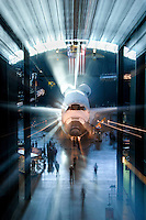 """""""Shuttle Glow"""" by Art Harman. NASA space shuttle Discovery in her home at the Udvar-Hazy Smithsonian Air and Space Museum"""