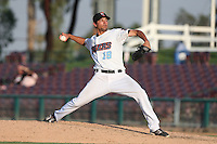 Trevor Foss #19 of the Inland Empire 66ers pitches against the Bakersfield Blaze at San Manuel Stadium on August 21, 2014 in San Bernardino, California. Inland Empire defeated Bakersfield, 3-1. (Larry Goren/Four Seam Images)