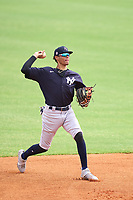 New York Yankees third baseman Marcos Cabrera (50) throws to first base during an Extended Spring Training game against the Detroit Tigers on June 19, 2021 at Tigertown in Lakeland, Florida.  (Mike Janes/Four Seam Images)