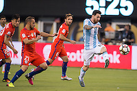 Action photo during the match Argentina vs Chile, Corresponding to Great Final of the America Centenary Cup 2016 at Metlife Stadium, East Rutherford, New Jersey.<br /> <br /> <br /> Foto de accion durante el partido Argentina vs Chile, correspondiente a la Gran Final de la Copa America Centenario 2016 en el  Metlife Stadium, East Rutherford, Nueva Jersey, en la foto: (i-d) Marcelo Diaz de Chile y Lionel Messi de Argentina<br /> <br /> <br /> 26/06/2016/MEXSPORT/Jorge Martinez.