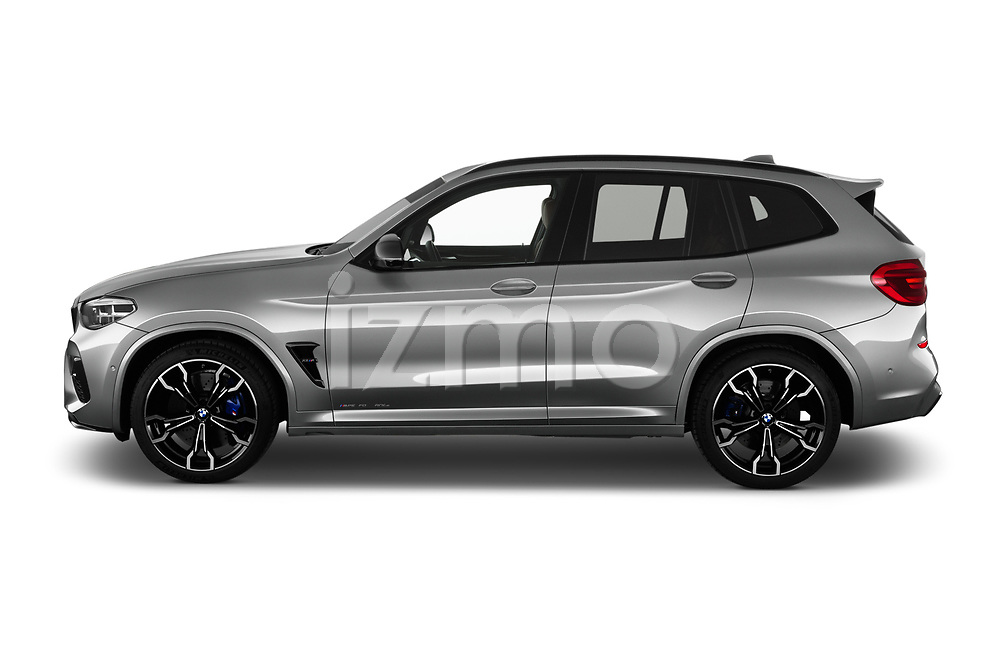 Car Driver side profile view of a 2020 BMW X3 M-Competition 5 Door SUV Side View