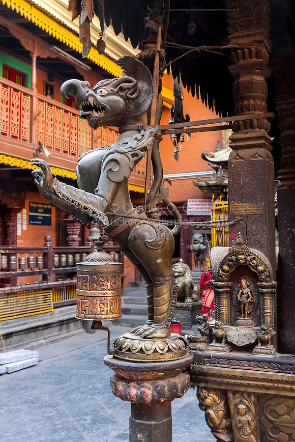 Nepal, Patan.  Mythical Figure inside the Golden Temple (Kwa Baha), a Buddhist Temple.