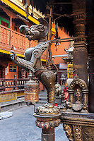 Nepal, Patan.  Mythical Figure inside the Golden Temple (Kwa Baha), a Buddhist Temple.