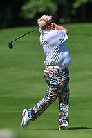 May 2nd 2021; The Woodlands, Texas, USA;  John Daly hits his second shot onto the green on the par 5 fifth hole during final round  of the 2021 Insperity Invitational at The Woodlands Country Club on May 2, 2021 in The Woodlands, Texas.