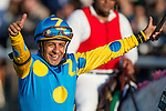 June 6, 2015: American Pharaoh, ridden by Victor Espinoza, wins the Belmont Stakes at Belmont Park on Elmont, New York to become the 12th Triple Crown winner in thoroughbred racing history. Jon Durr/ESW/CSM