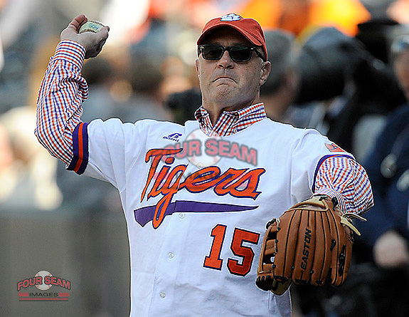 Clemson President Jim Clements warms up before throwing out the first pitch at the Reedy River Rivalry game against the South Carolina Gamecocks on March 1, 2014, at Fluor Field at the West End in Greenville, South Carolina. South Carolina won, 10-2.