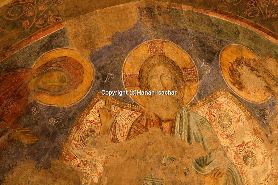 Israel, Jerusalem Mountains. Frescos at the Crusader Church in Abu Gosh