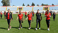 20180307 - LARNACA , CYPRUS :  Belgian Justine Vanhaevermaet , Maud Coutereels , Jana Coryn , Heleen Jaques and Nicky Van Den Abbeele pictured during a women's soccer game between  South Africa and the Belgian Red Flames  , on Wednesday 7 March 2018 at the GSZ Stadium in Larnaca , Cyprus . This is the final game in a decision for 5th or 6th place for Belgium during the Cyprus Womens Cup , a prestigious women soccer tournament as a preparation on the World Cup 2019 qualification duels. PHOTO SPORTPIX.BE | DAVID CATRY