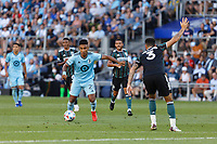 ST PAUL, MN - AUGUST 14: Juan Agudelo #21 of Minnesota United FC with the ball during a game between Los Angeles Galaxy and Minnesota United FC at Allianz Field on August 14, 2021 in St Paul, Minnesota.