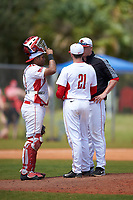 Illinois State Redbirds pitching coach Michael Keller (jacket) talks with pitcher Jeff Lindgren (21) and catcher Jean Ramirez (27) during a game against the Michigan State Spartans on March 8, 2016 at North Charlotte Regional Park in Port Charlotte, Florida.  Michigan State defeated Illinois State 15-0.  (Mike Janes/Four Seam Images)