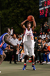 Dexter Strickland (5) lines up for a shot during the Elite 24 Hoops Classic game on September 1, 2006 held at Rucker Park in New York, New York.  The game brought together the top 24 high school basketball players in the country regardless of class or sneaker affiliation.