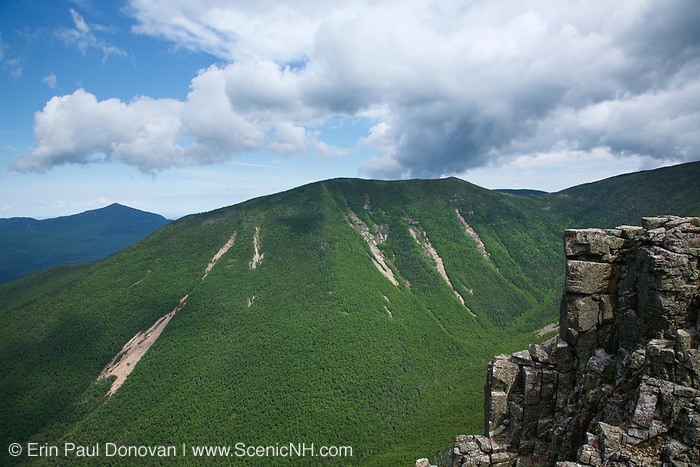 Looking across Hellgate Ravine at West Bond from Bondcliff Mountain in the Pemigewasset Wilderness of  New Hampshire during the summer months. Bondcliff, Mount Bond, and West Bond were named in 1876 for Professor G.P. Bond of Harvard University.