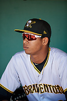 Bradenton Marauders Alfredo Reyes (2) in the dugout before the first game of a doubleheader against the Lakeland Flying Tigers on April 11, 2018 at Publix Field at Joker Marchant Stadium in Lakeland, Florida.  Lakeland defeated Bradenton 5-4.  (Mike Janes/Four Seam Images)
