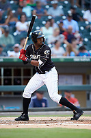 Eloy Jimenez (16) of the Charlotte Knights at bat against the Pawtucket Red Sox at BB&T BallPark on July 19, 2018 in Charlotte, North Carolina. The Knights defeated the Red Sox 4-3.  (Brian Westerholt/Four Seam Images)