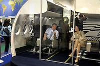 - stand of the Russian company Sukhoi, model inside of cabin of an airliner ....- stand della ditta russa Sukhoi, modello interno cabina di un aereo di linea