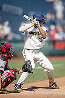 Michigan Wolverines outfielder Jordan Brewer (22) at bat during Game 11 of the NCAA College World Series against the Texas Tech Red Raiders on June 21, 2019 at TD Ameritrade Park in Omaha, Nebraska. Michigan defeated Texas Tech 15-3 and is headed to the CWS Finals. (Andrew Woolley/Four Seam Images)