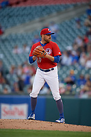 Buffalo Bisons pitcher Conor Fisk (49) during an International League game against the Norfolk Tides on June 21, 2019 at Sahlen Field in Buffalo, New York.  Buffalo defeated Norfolk 1-0, the second game of a doubleheader.  (Mike Janes/Four Seam Images)