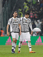 Calcio, Serie A: Juventus vs Inter. Torino, Juventus Stadium, 28 February 2016.<br /> Juventus' Leonardo Bonucci, left, and Alvaro Morata celebrate at the end of the Italian Serie A football match between Juventus and Inter at Turin's Juventus Stadium, 28 February 2016. Juventus won 2-0.<br /> UPDATE IMAGES PRESS/Isabella Bonotto