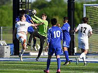 NWA Democrat-Gazette/CHARLIE KAIJO Bentonville High School Evan Shanks (1) blocks a shot during a soccer game, Friday, April 26, 2019 at  Whitey Smith Stadium at Rogers High School in Rogers.