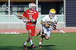 Baltimore, MD - March 3: Midfielder Brian Patton #31 of the UMBC Retrievers  defends Midfielder Brent Adams #8 of the Fairfield Stags during the Fairfield v UMBC mens lacrosse game at UMBC Stadium on March 3, 2012 in Baltimore, MD.