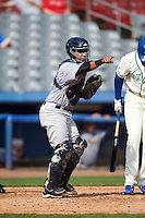 Trenton Thunder catcher Francisco Diaz (46) points to the first base umpire to check a swing during the first game of a doubleheader against the Hartford Yard Goats on June 1, 2016 at Sen. Thomas J. Dodd Memorial Stadium in Norwich, Connecticut.  Trenton defeated Hartford 4-2.  (Mike Janes/Four Seam Images)