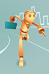 Illustrative image of robotic businessman with briefcase running in haste representing urgency and goal