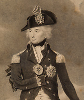 BNPS.co.uk (01202 558833)<br /> Pic: CharlesMiller/BNPS<br /> <br /> Sold for £18,500 - A lost sketch of a victorious Admiral Lord Nelson that was rejected for being too ungallant has come to light over 200 years later.<br /> <br /> The never-before-seen portrait painting shows the British hero shortly after his famous victory at the Battle of Copenhagen in 1801.<br /> <br /> In the background is the Danish city ablaze while Nelson is depicted stood with his sword tip resting on the throat of Marianne of France - the Gallic version of Britannia.<br /> <br /> The unsigned work is believed to have been produced by English portrait painter Henry Edridge shortly after the naval battle.