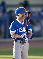 Jesuit Tigers Bradke Lohry (2) bats during a game against the IMG Academy Ascenders on April 21, 2021 at IMG Academy in Bradenton, Florida.  (Mike Janes/Four Seam Images)