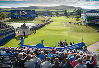 24.09.2014. Gleneagles, Auchterarder, Perthshire, Scotland.  The Ryder Cup.  View of the 1st Tee as Team USA start their practice round.