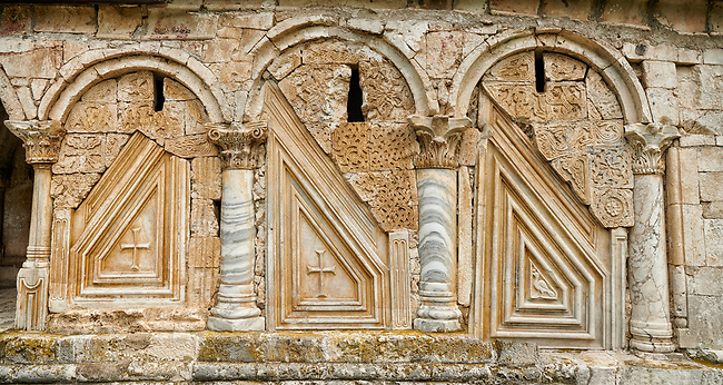 Close up picture & image medieval Georgian architectural stone work of the medieval Khobi Monastery and Khobi Georgian Orthodox Cathedral, 10th -13th century, Khobi, Georgia.