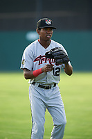 Tri-City ValleyCats center fielder Andy Pineda (12) warms up before a game against the Batavia Muckdogs on July 14, 2017 at Dwyer Stadium in Batavia, New York.  Batavia defeated Tri-City 8-4.  (Mike Janes/Four Seam Images)