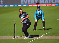 NZ's Sophie Devine winces as Amelia Kerr's throw runs-out Mady Villiers during the 3rd international women's T20 cricket match between the New Zealand White Ferns and England at Sky Stadium in Wellington, New Zealand on Sunday, 7 March 2021. Photo: Dave Lintott / lintottphoto.co.nz
