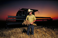Wheat farmer Lester Ewy poses in front of his combine in a wheat field at sunset during the harvest of winter wheat. portrait, farming, crops, machinery, equipment, agriculture, occupations. Lester Ewy. Kansas, Reno County.