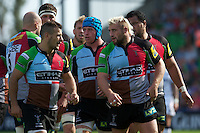 Joe Marler of Harlequins (right) talks to Danny Care of Harlequins during the Aviva Premiership match between Harlequins and Sale Sharks at The Twickenham Stoop on Saturday 15th September 2012 (Photo by Rob Munro)