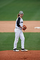 UCF Knights relief pitcher Ryan Saltonstall (28) gets ready to deliver a pitch during a game against the Siena Saints on February 17, 2019 at John Euliano Park in Orlando, Florida.  UCF defeated Siena 7-1.  (Mike Janes/Four Seam Images)